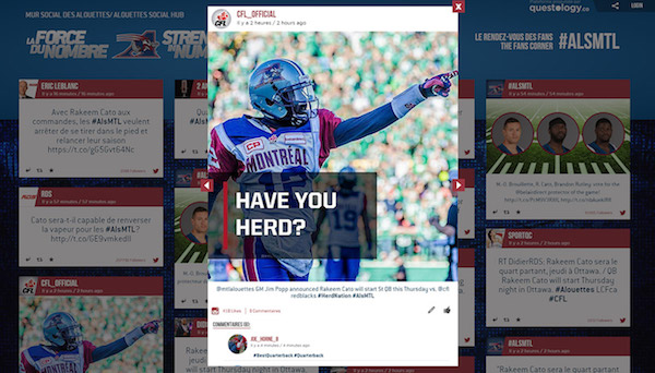 Online Screen Social Wall Post Alouettes