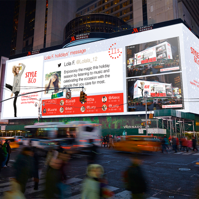 City Street Screens Advertising Broadway Times Square